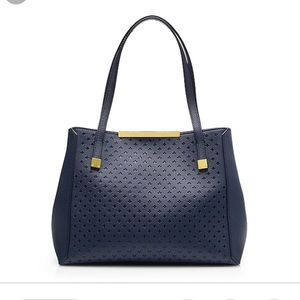 J Crew Claremont Navy Perforated Tote